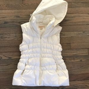 Ivory Michael Kors puffer vest with removable hood
